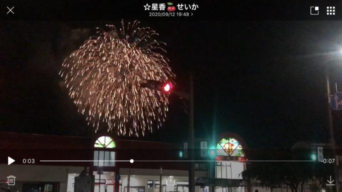 飯田駅と花火